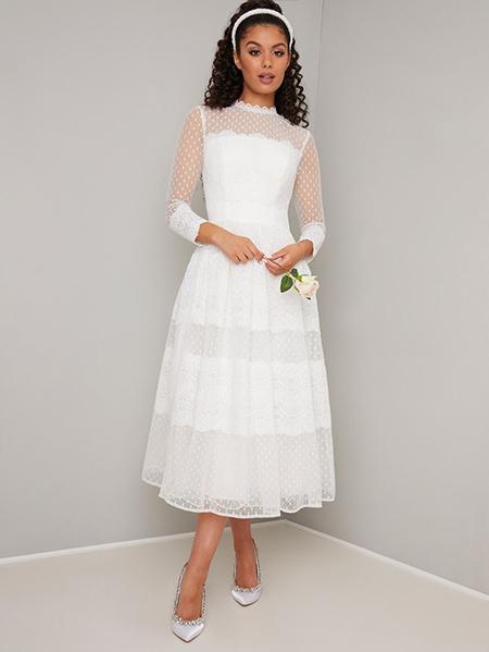 پیراهن عروس دامن پفی سفید - کد :۳۰۸-۱۸