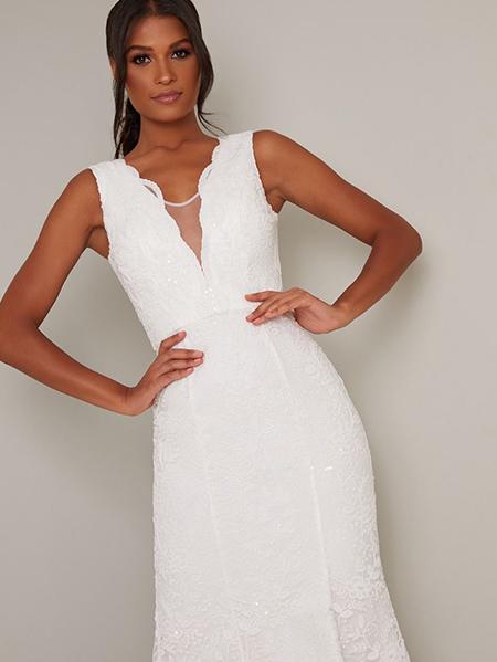 پیراهن عروس گیپور با پولک ریز - کد :۳۱۵-۱۸