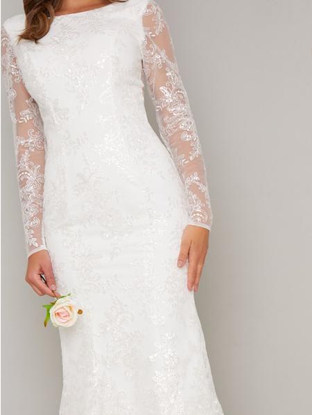پیراهن عروس گیپور با گلدوزی و پولک ریز - کد :۳۴۹-۱۸