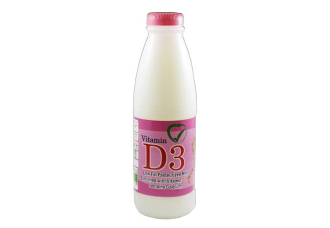 Low Fat Pasteurized Milk Enriched with Vitamins D3 and Calcium
