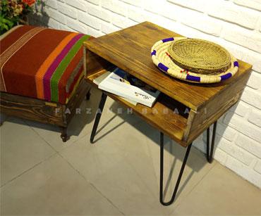 میز کافی یا میز کناری جنس چوب پایه فلزی طرح روستیک