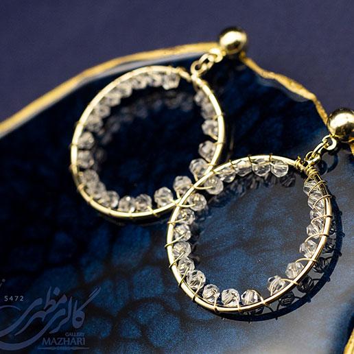گوشواره حلقه ای کریستالی