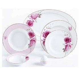 سرویس غذاخوری 28 پارچه 6 نفره چینی زرین سری ایتالیا اف مدل Rose Flower درجه عالی
