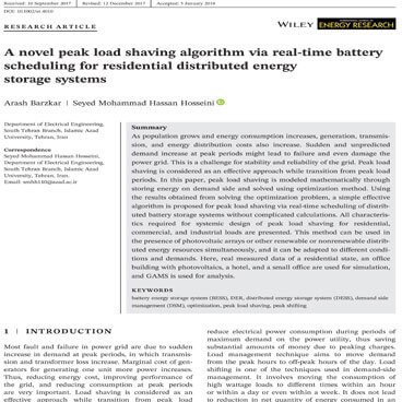 A novel peak load shaving algorithm via real-time battery scheduling for residential distributed energy storage systems