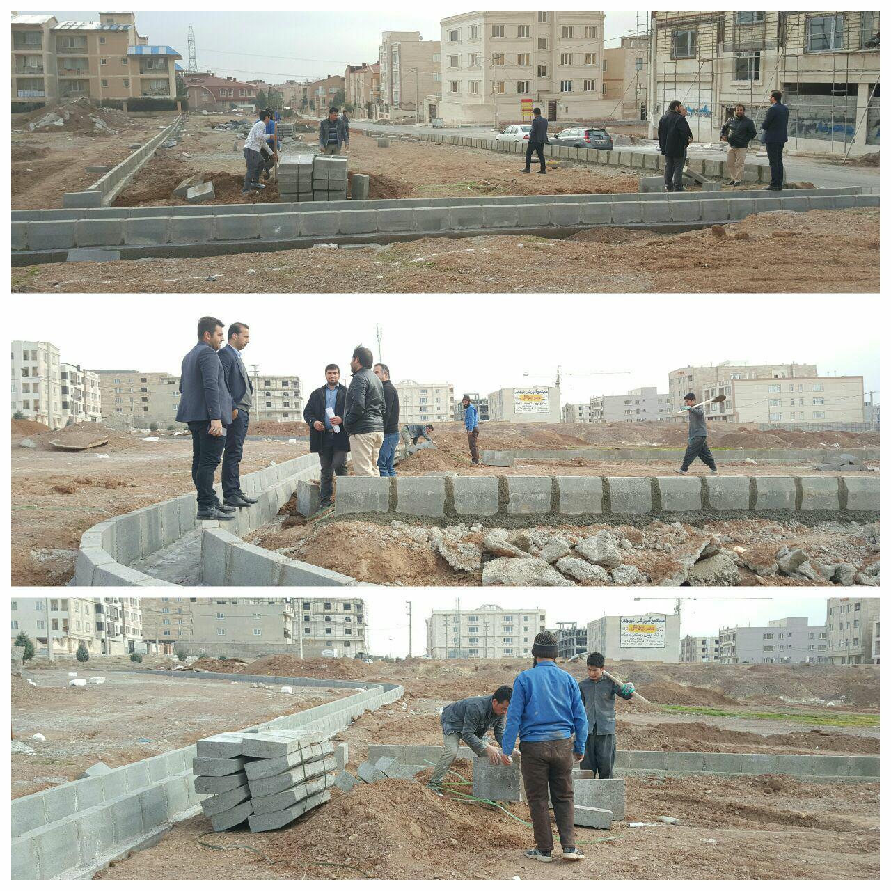 اجرای مرحله محوطه سازی و جدول گذاری پروژه پارک محلی ای فاز صفر شهر پرند