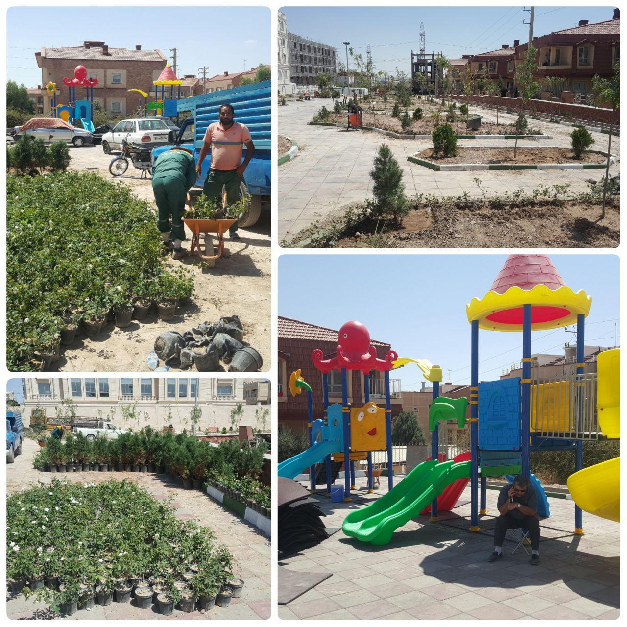 نصب سِت های بازی کودکان و تداوم کاشت فضای سبز در پارک تازه تأسیس امید