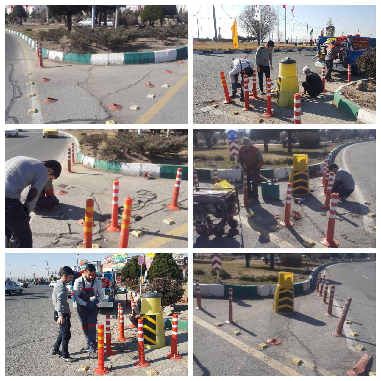 اجرای عملیات نصب علائم ترافیکی در میادین شهر پرند