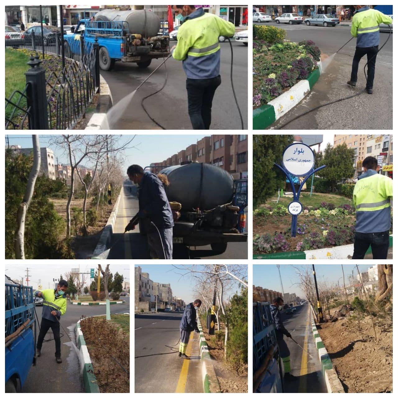 شستشوی جداول و تنظیف محله ای شهر پرند