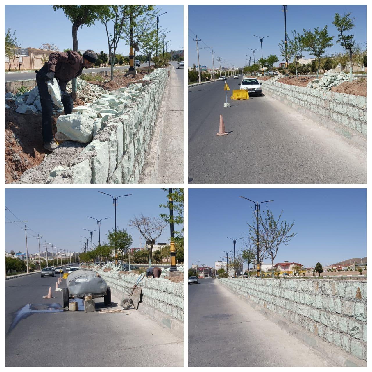 عملیات بهسازی بلوار انقلاب اسلامی پرند رو به پایان