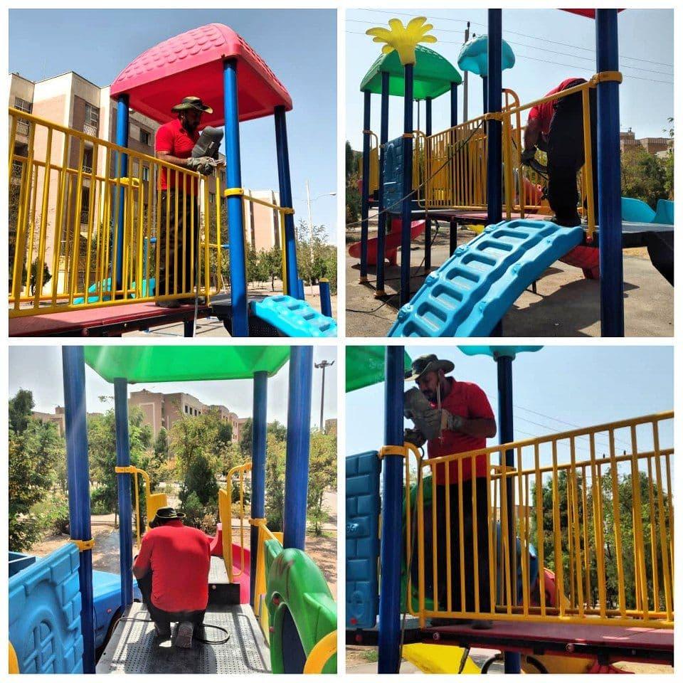 تداوم طرح بازسازی و تعمیر وسایل بازی کودکان در پارک های پرند