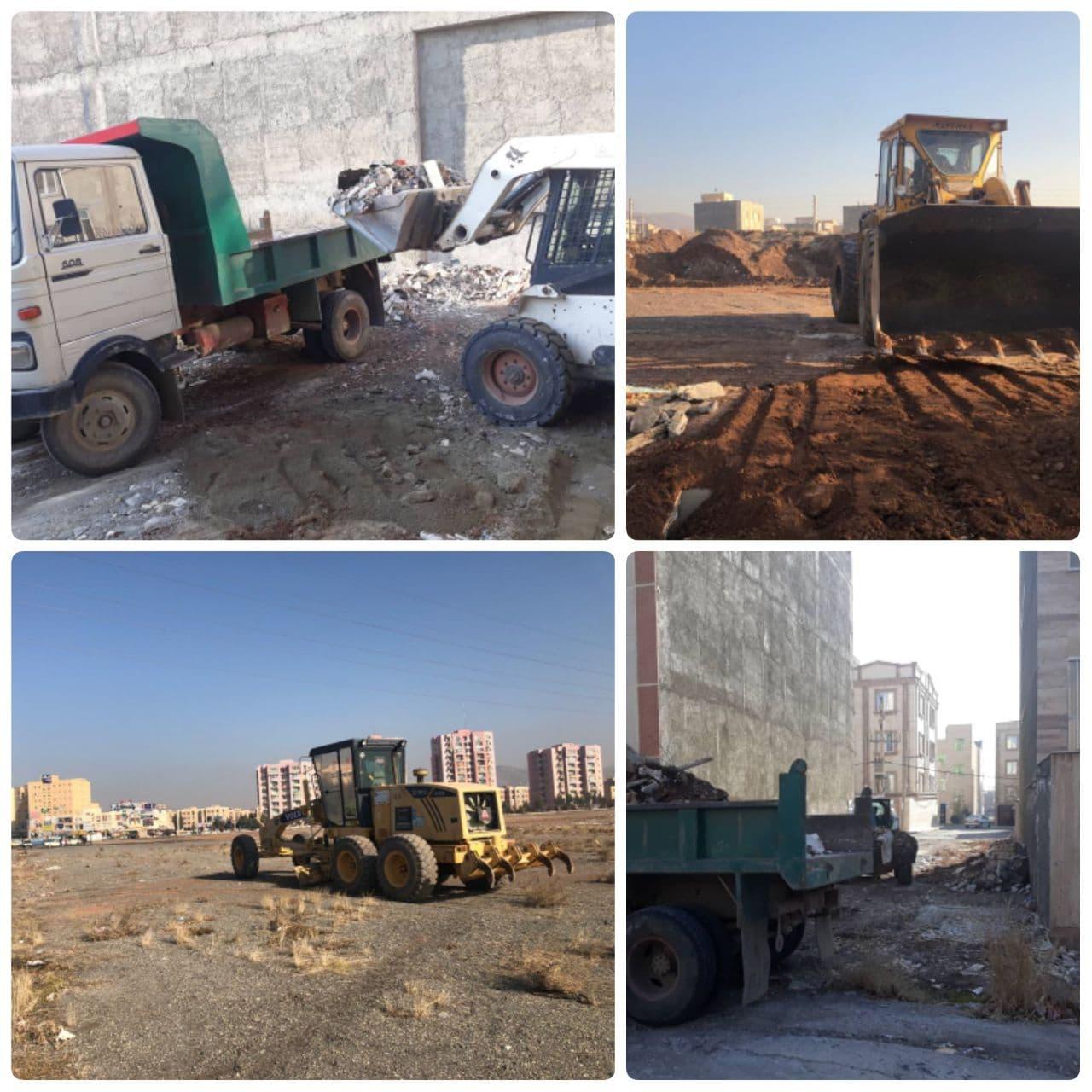 تداوم عملیات گسترده پاکسازی نخاله های ساختمانی در پرند ۴۲۰ تن نخاله طی یک هفته اخیر جمع آوری شد