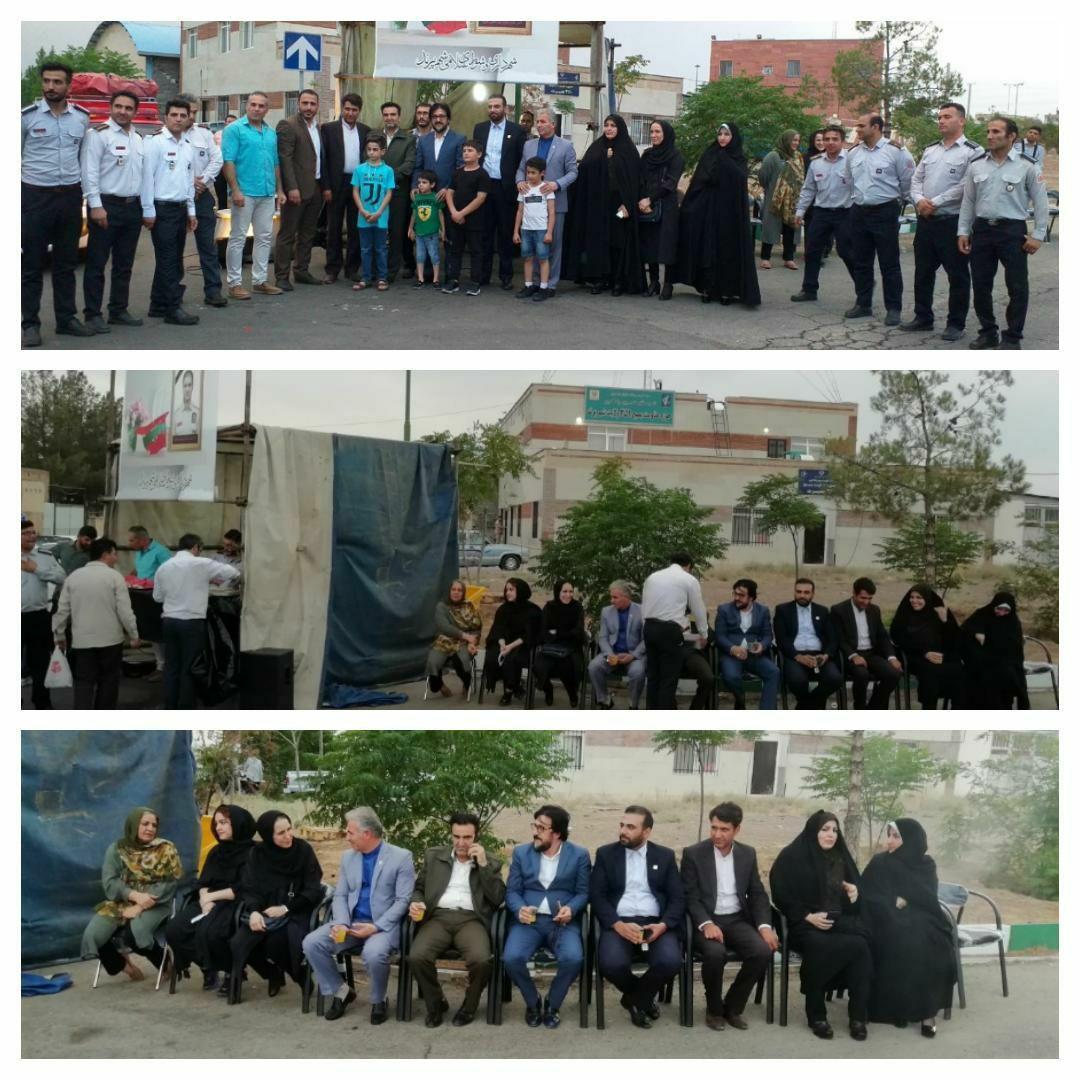 سومین سالگرد شهادتِ آتشنشان پرندی شهید علی قانع و حضور مسئولین شهرداری و شورای شهر در این بزرگداشت