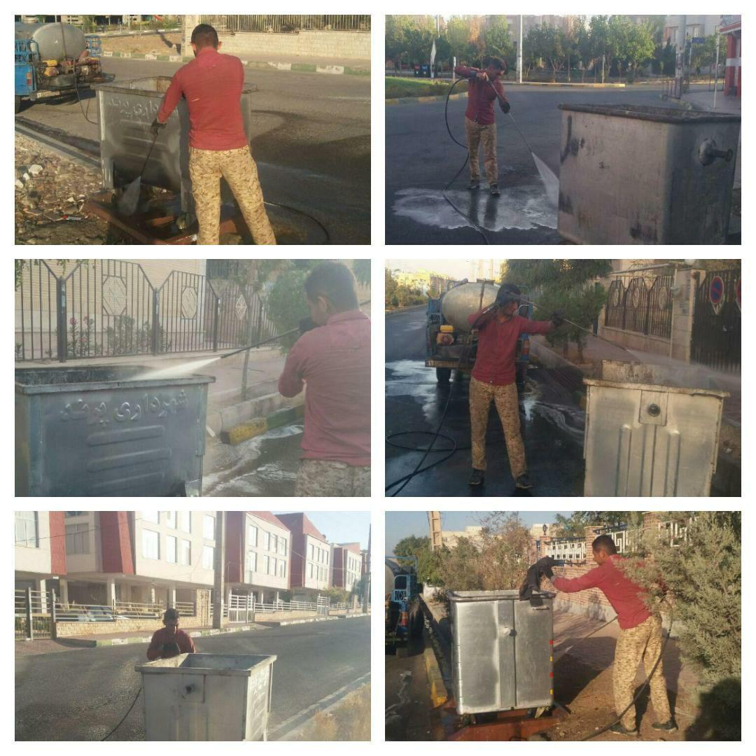 اجرای طرح شستشوی کلیه باکس های زباله در سطح شهر پرند
