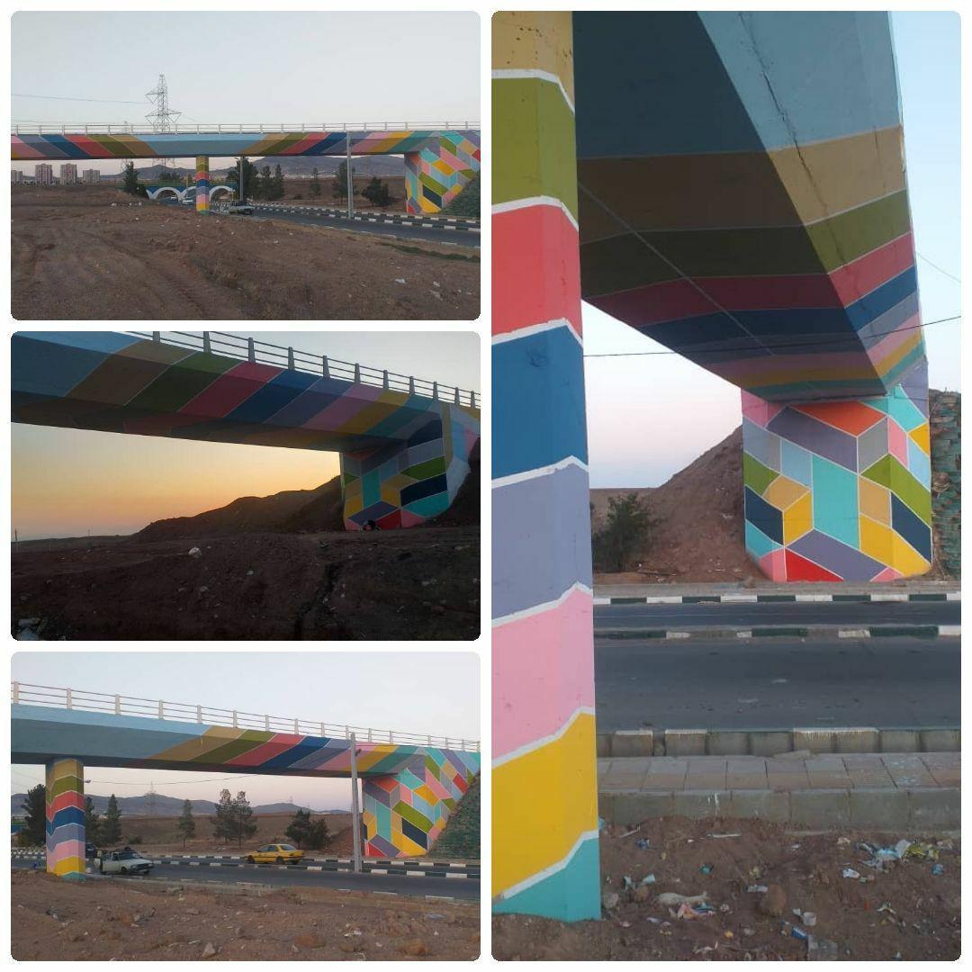 اتمام عملیات نگارگری جداره های پل مترو در ورودی جاده قدیم شهر پرند