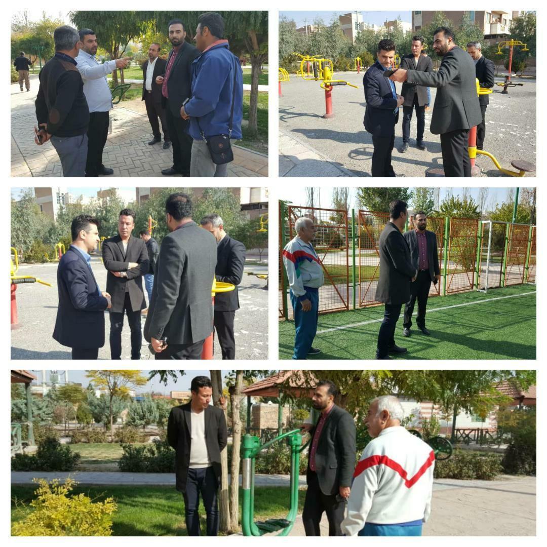 بازدید سرپرست شهرداری پرند و رئیس کمیسیون ورزشی شورای شهر از وضعیت بوستان های بهشت و فدک