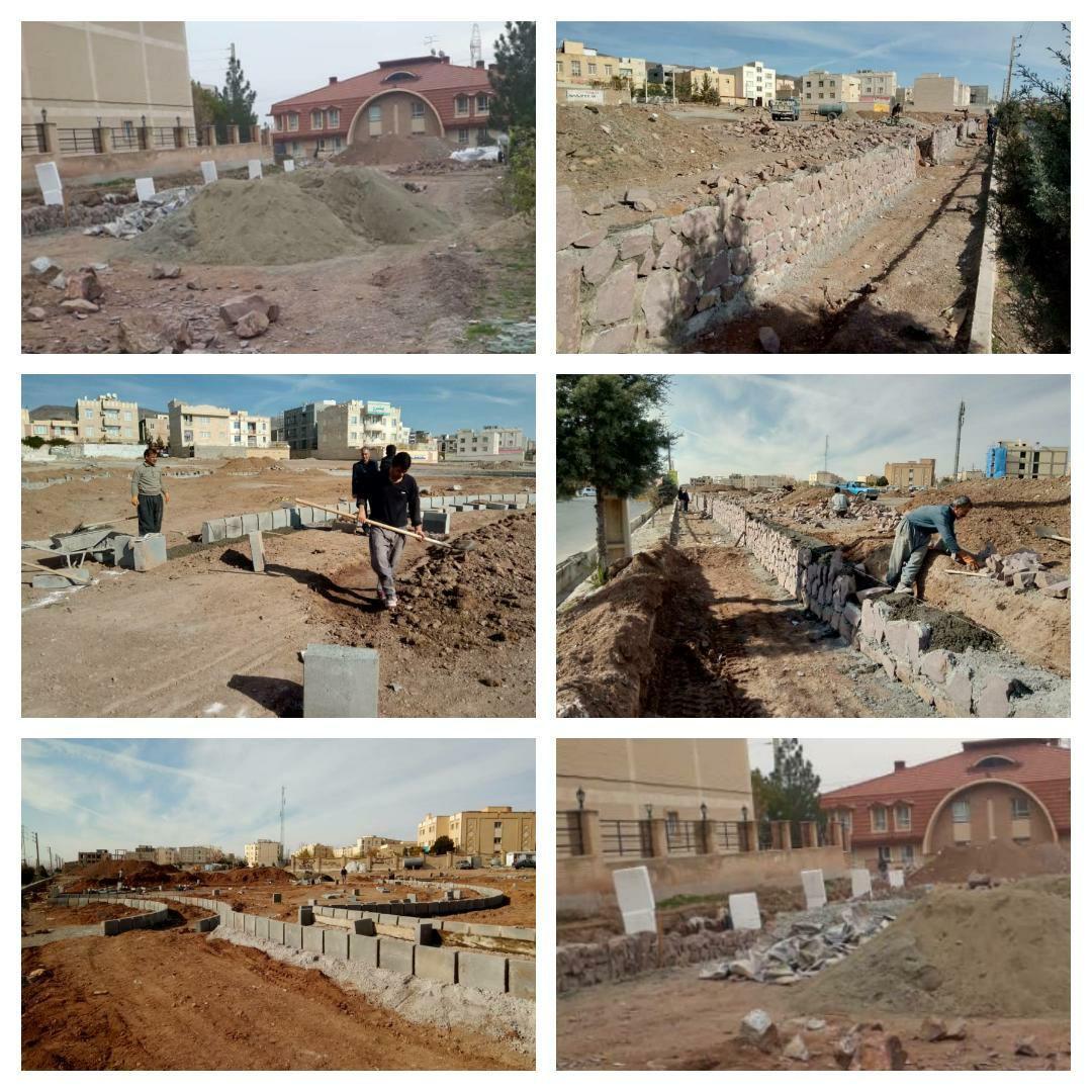 ادامه روند احداث پارک کودک شهر پرند و جدول گذاری و دیوارچینی این پروژه