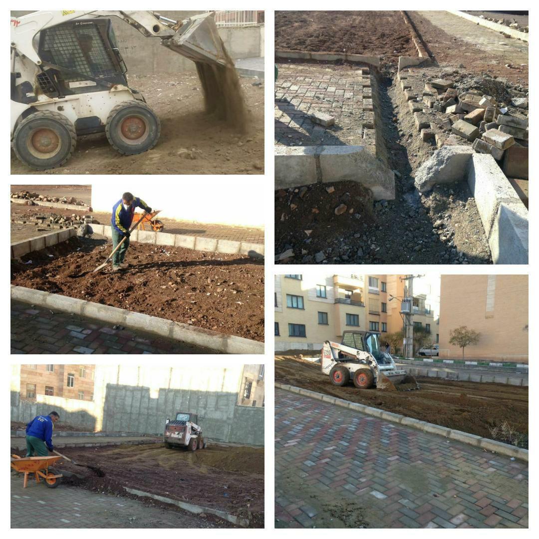 اجرای عملیات قلاف گذاری و خاکریزی خاک نباتی در پارک محله ای پرنیان شهر پرند