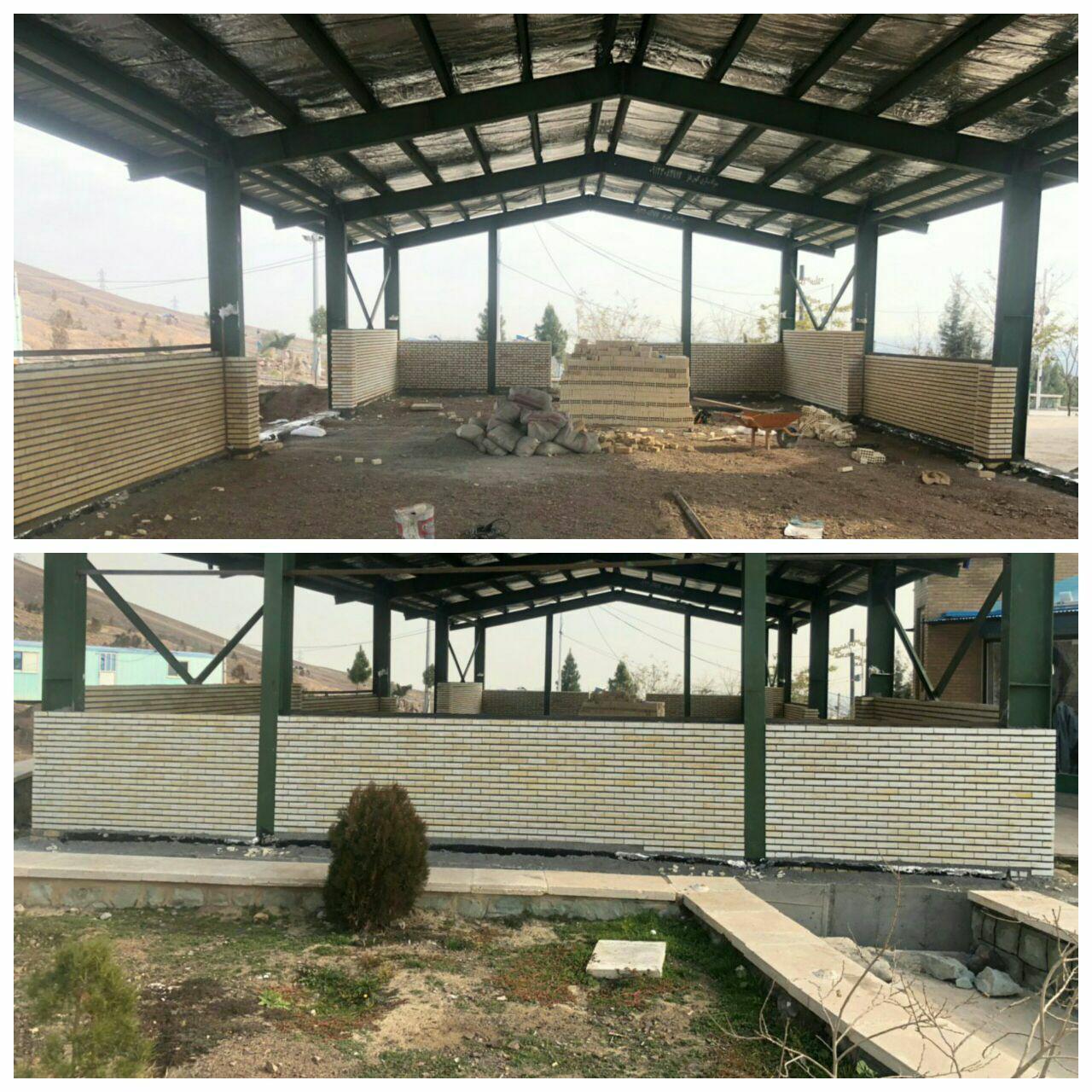 مراحل پایانی عملیات احداث حسینیه جنب گلزار شهدای گمنام پرند
