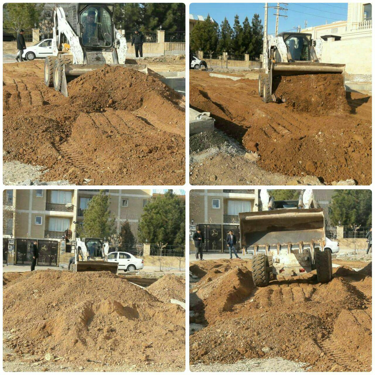 عملیات خاک ریزی و تسطیحِ پارک محله ای امید در شهر پرند