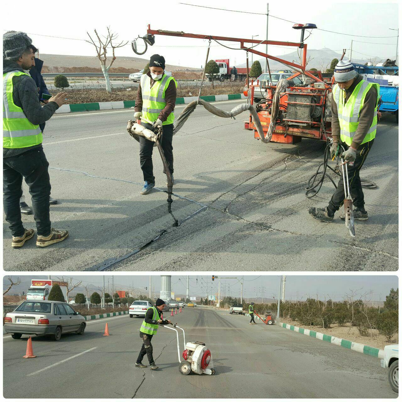 اجرای عملیات درزگیری آسفالت با قیر پلیمر (ماستیک) در شهر پرند