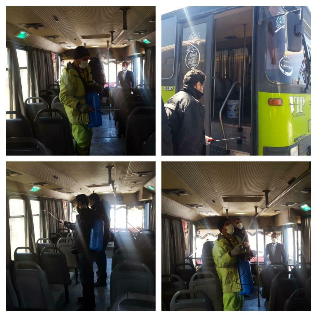 اجرای طرح پیشگیری از ویروس کرونا در ناوگان حمل و نقل شهر پرند