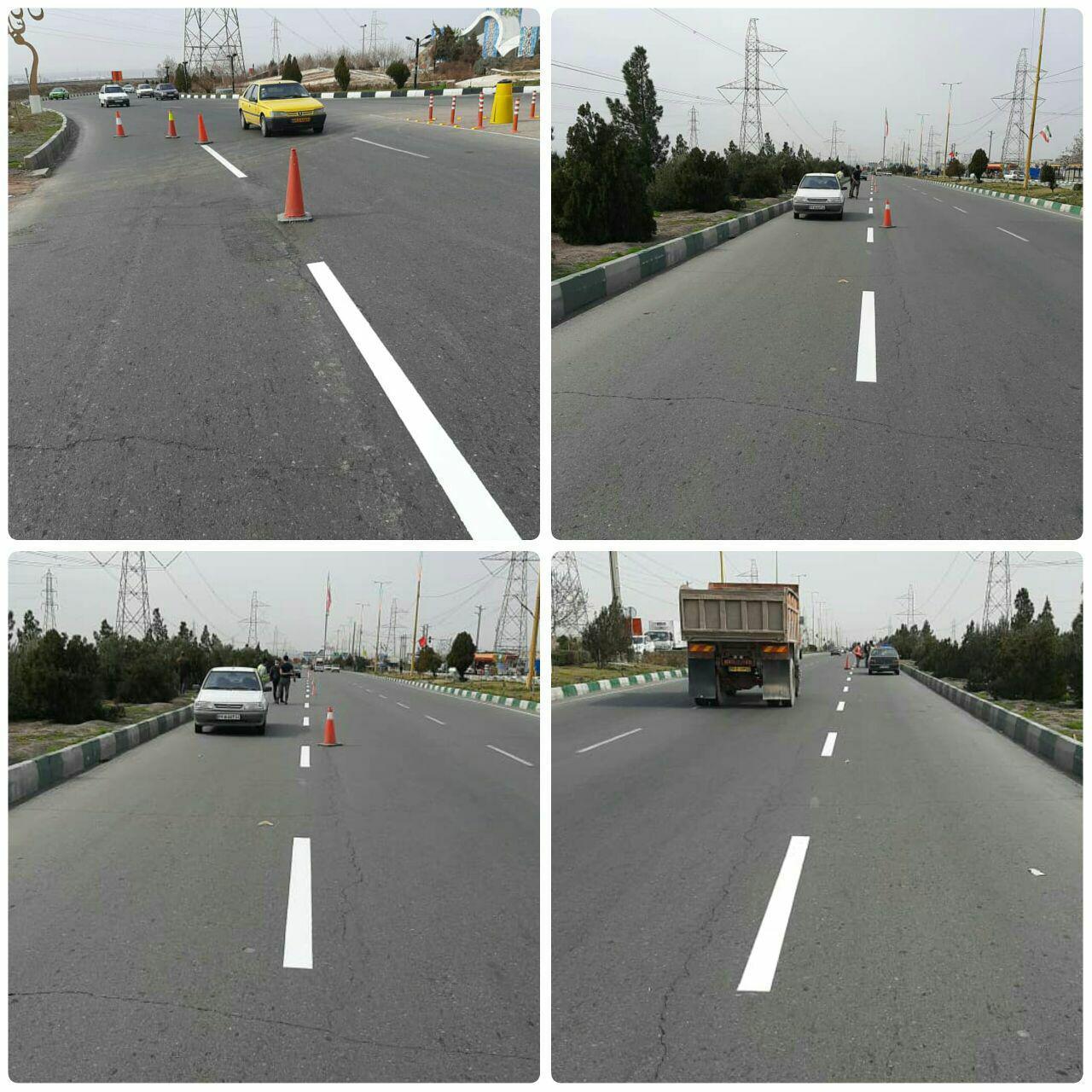اجرای عملیات خط کشی محوری معابر به طول ۷ کیلومتر در ورودی شهر پرند