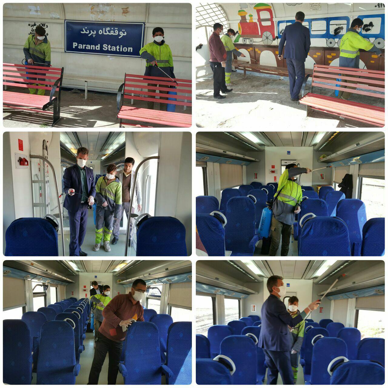 عملیات ضدعفونی شهر پرند به ایستگاه ریل باس رسید / شهردار پرند: با تمام توان و امکانات در خدمت شهروندان عزیز هستیم
