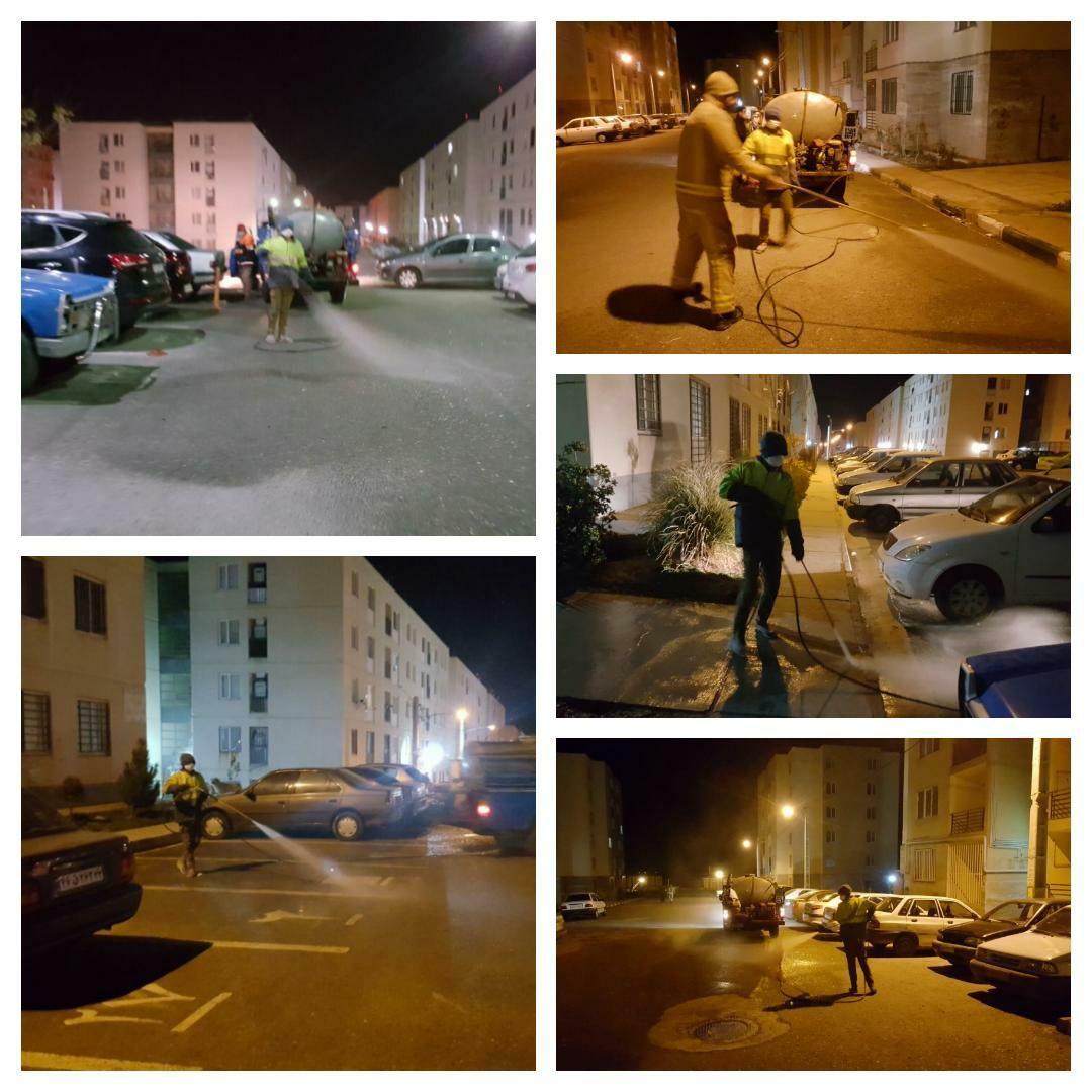اجرای عملیات شبانه ضد عفونی معابر و اماکن عمومی پرند