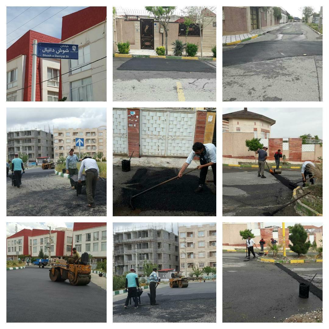 اجرای عملیات ترمیم و روکش آسفالت در خیابان شوش دانیال و کوچه های شمشاد شهر پرند
