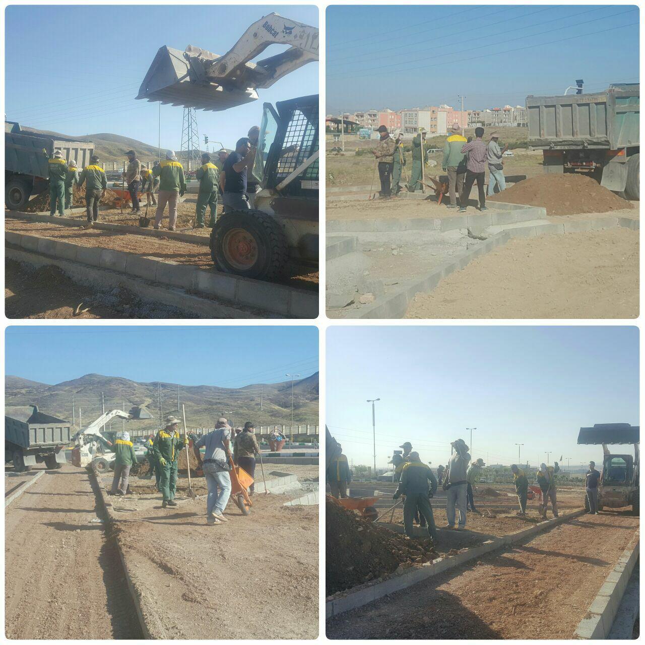 اجرای عملیات خاکریزی نباتی و زیرسازی در پروژه پارک دانش شهر پرند