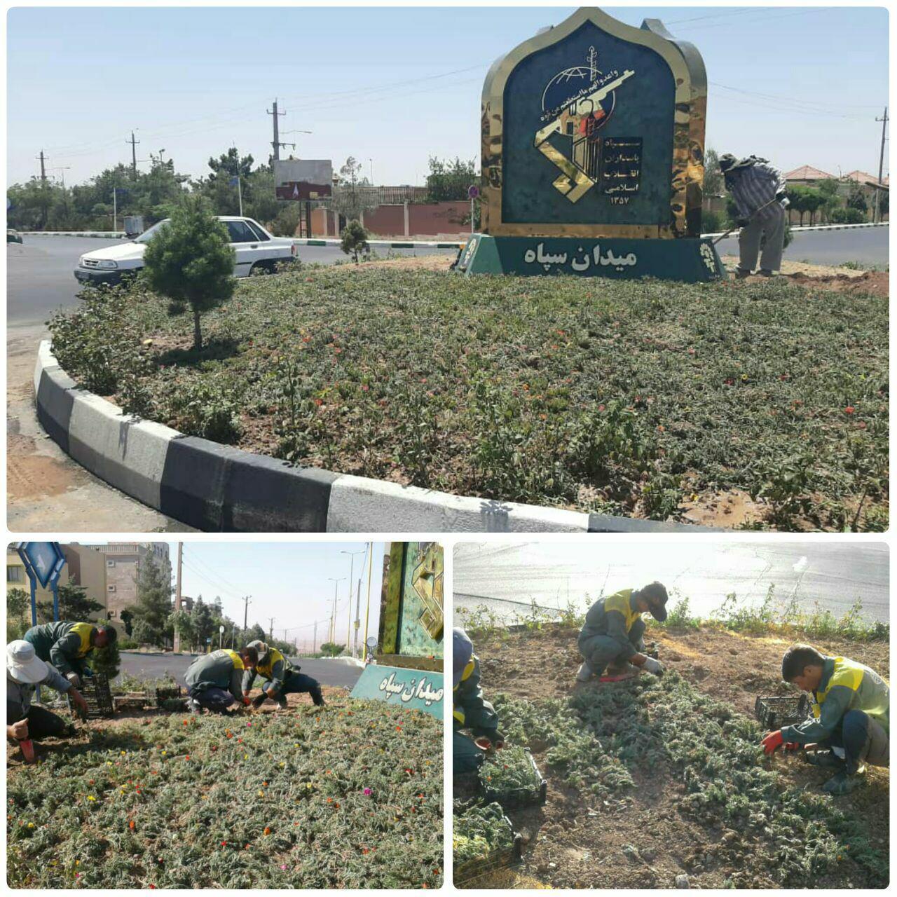 اجرای طرح گلکاری در میدان سپاه شهر پرند