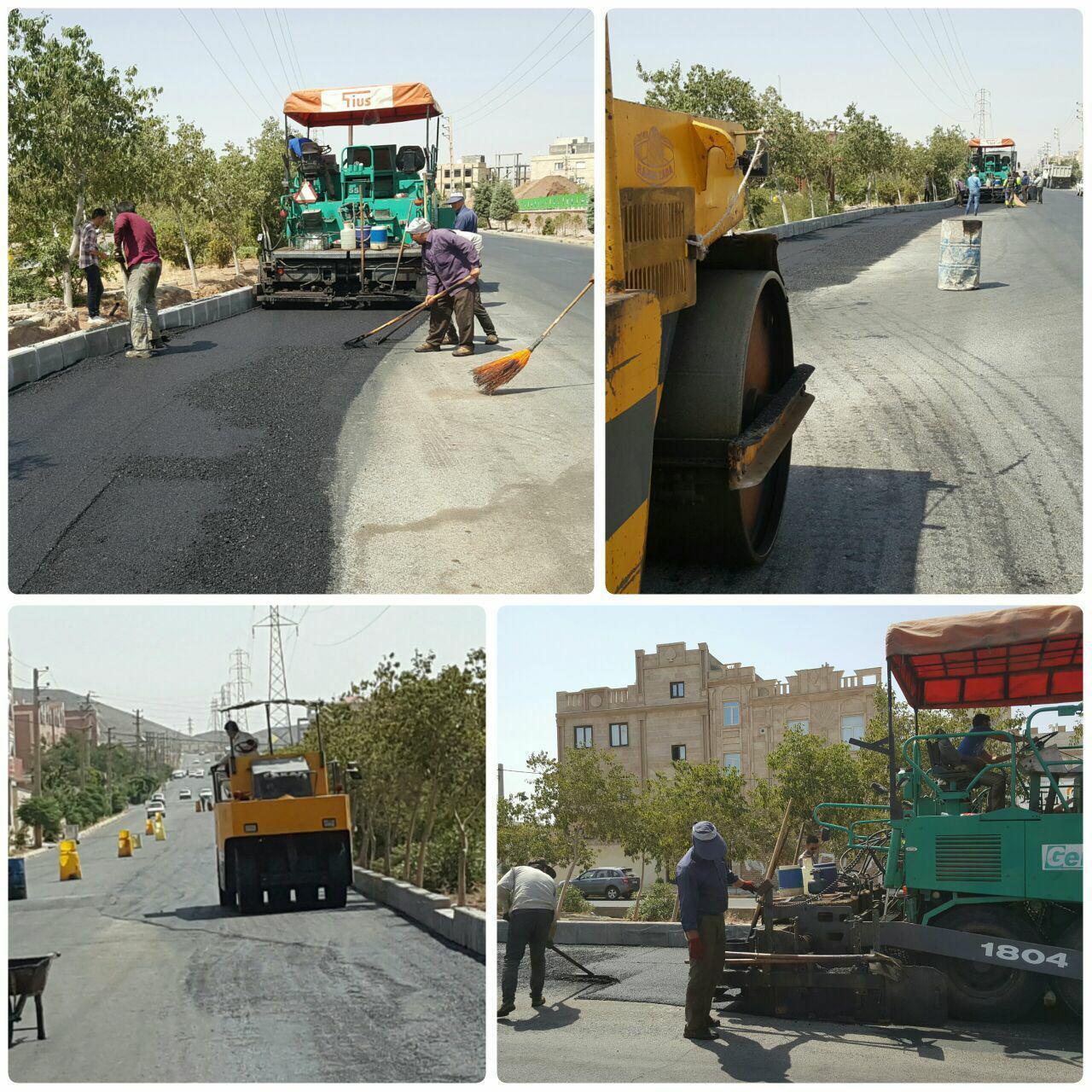 آسفالت ضلع شمالی بلوار امام خمینی (ره) رو به پایان