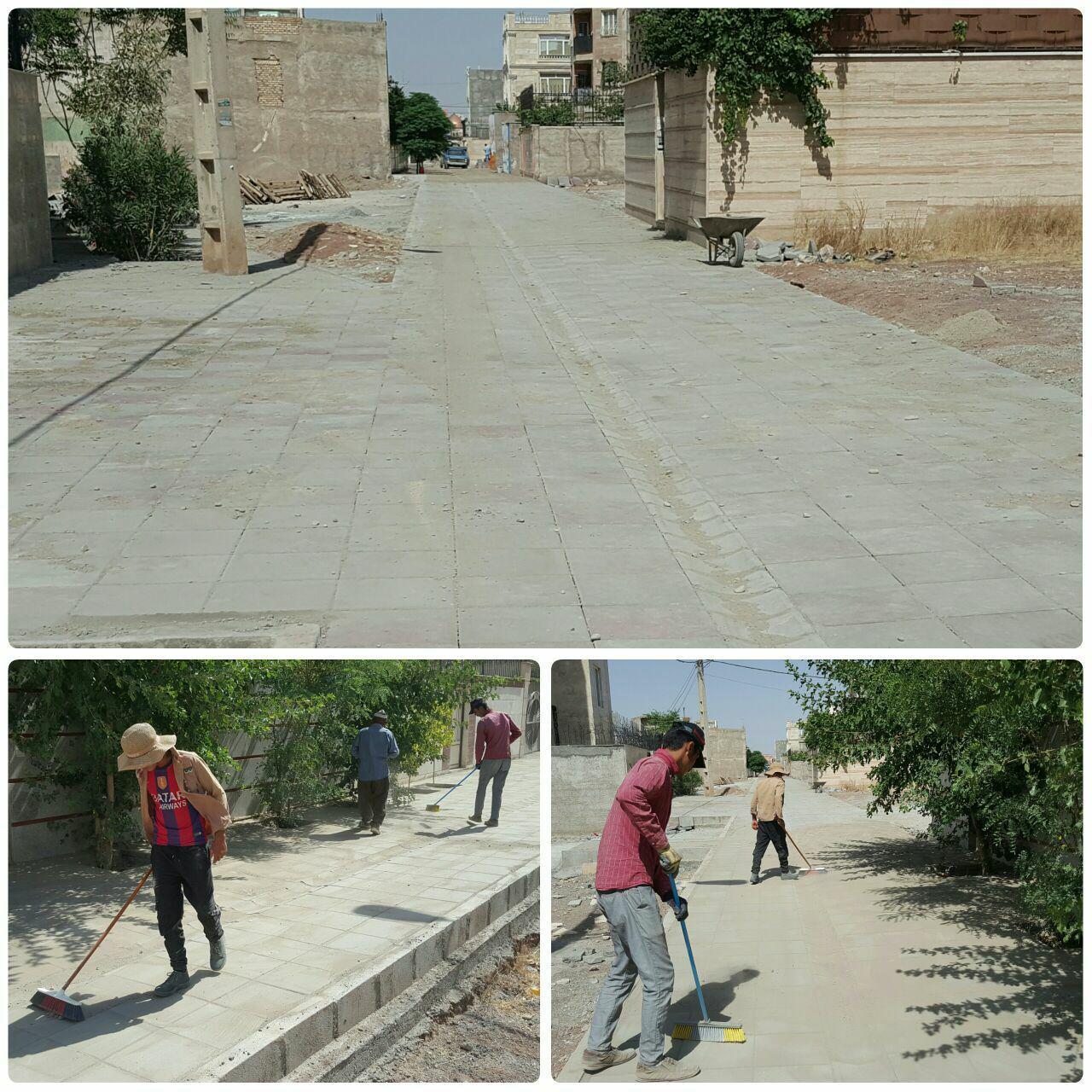 اتمام عملیات کفپوش خیابان سفید کوه شهر پرند