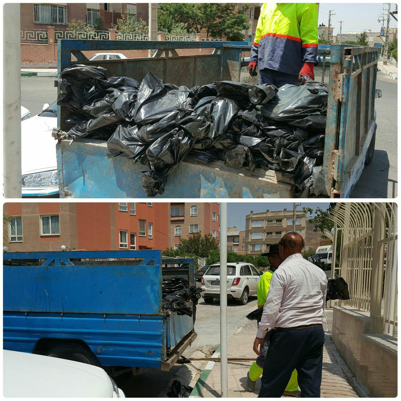 توزیع رایگان کیسه های زباله در شهر پرند