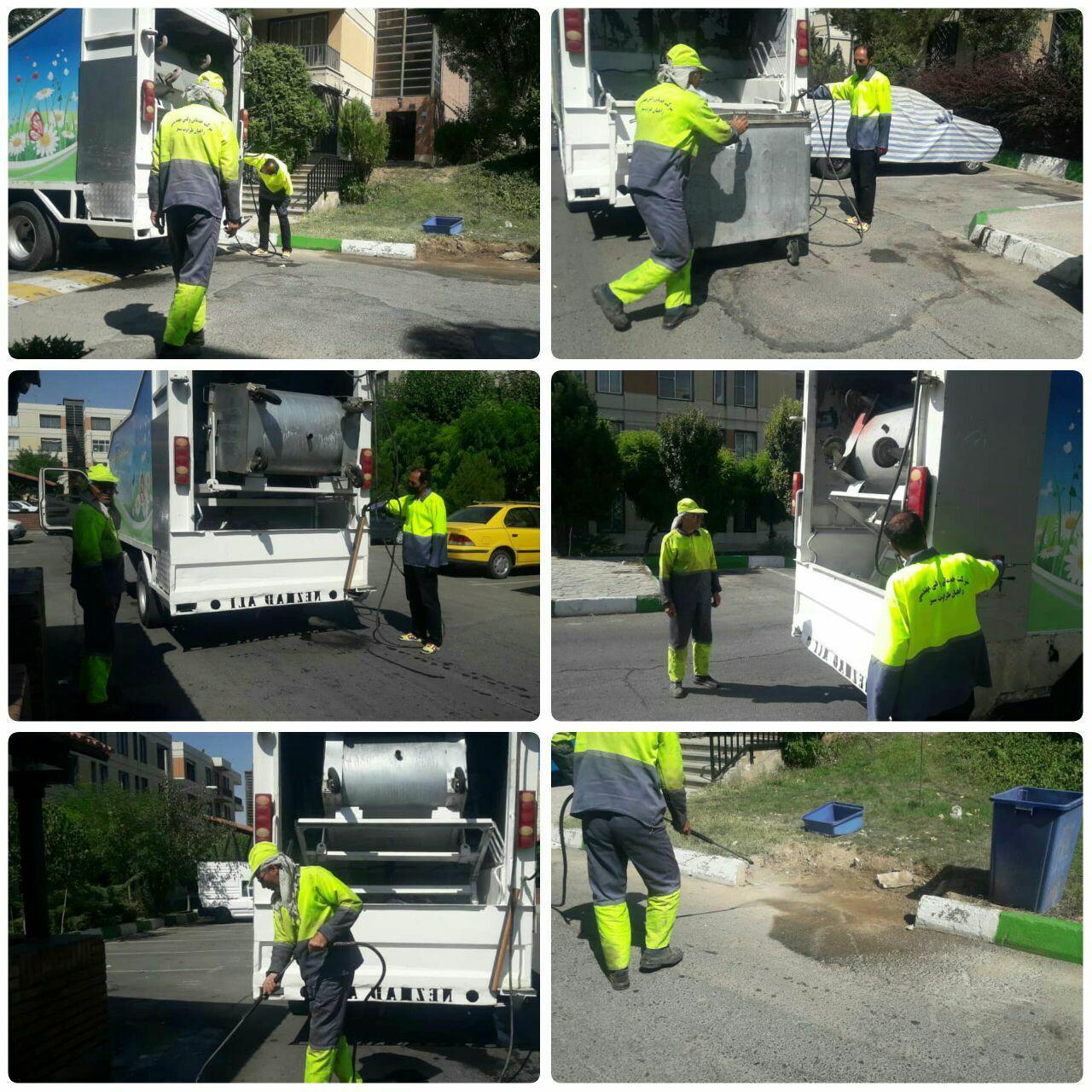 شستشوی مکانیزه باکس های زباله در فاز صفر شهر پرند