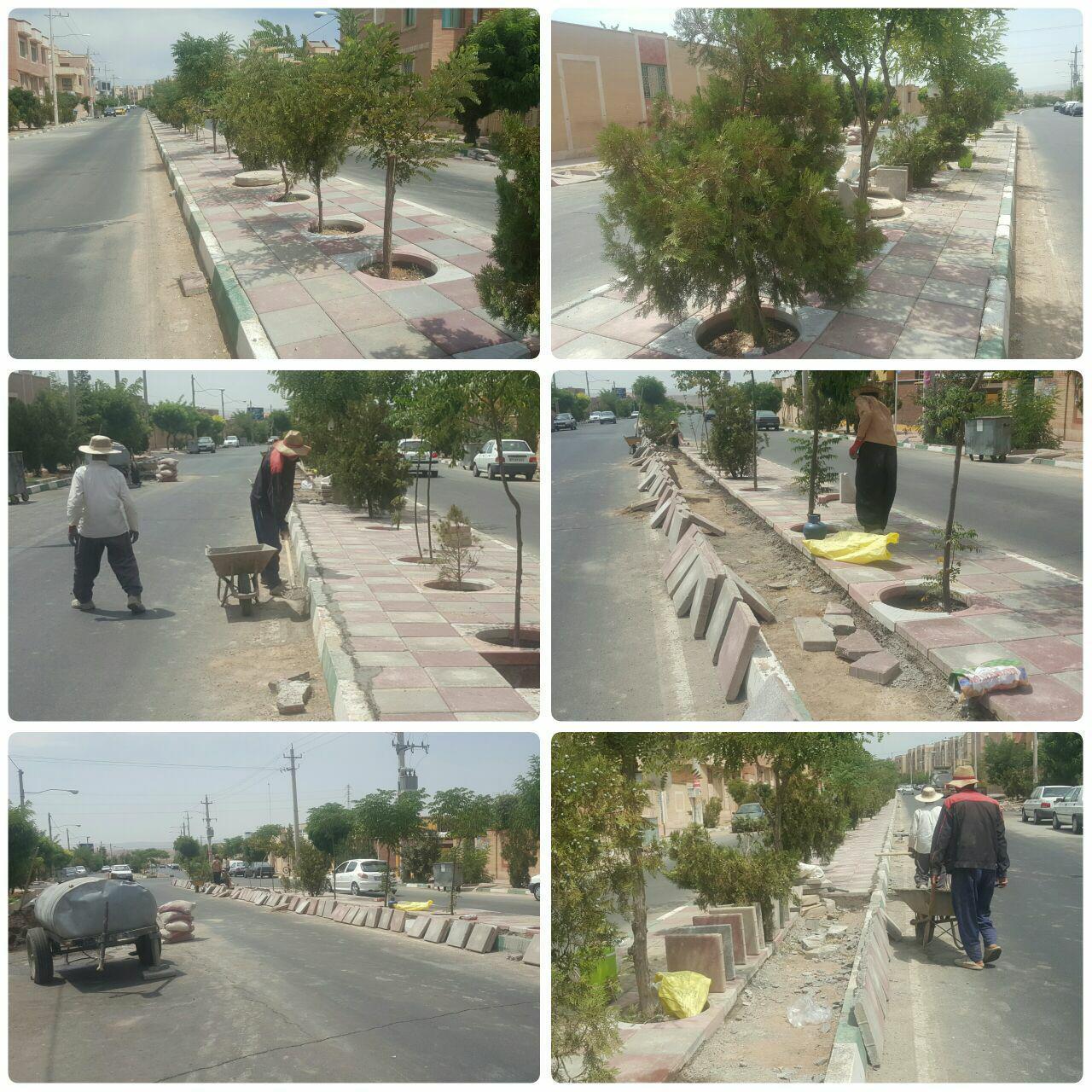 اجرای عملیات کفپوش در بلوار خورشید شهر پرند