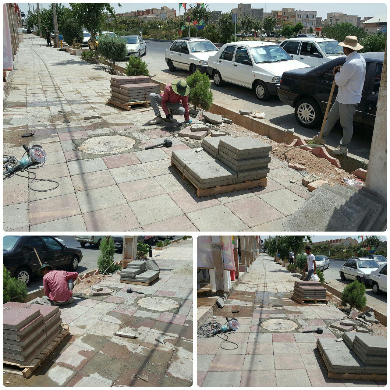 اجرای طرح کفپوش پیاده راه های بلوار امام خمینی (ره)