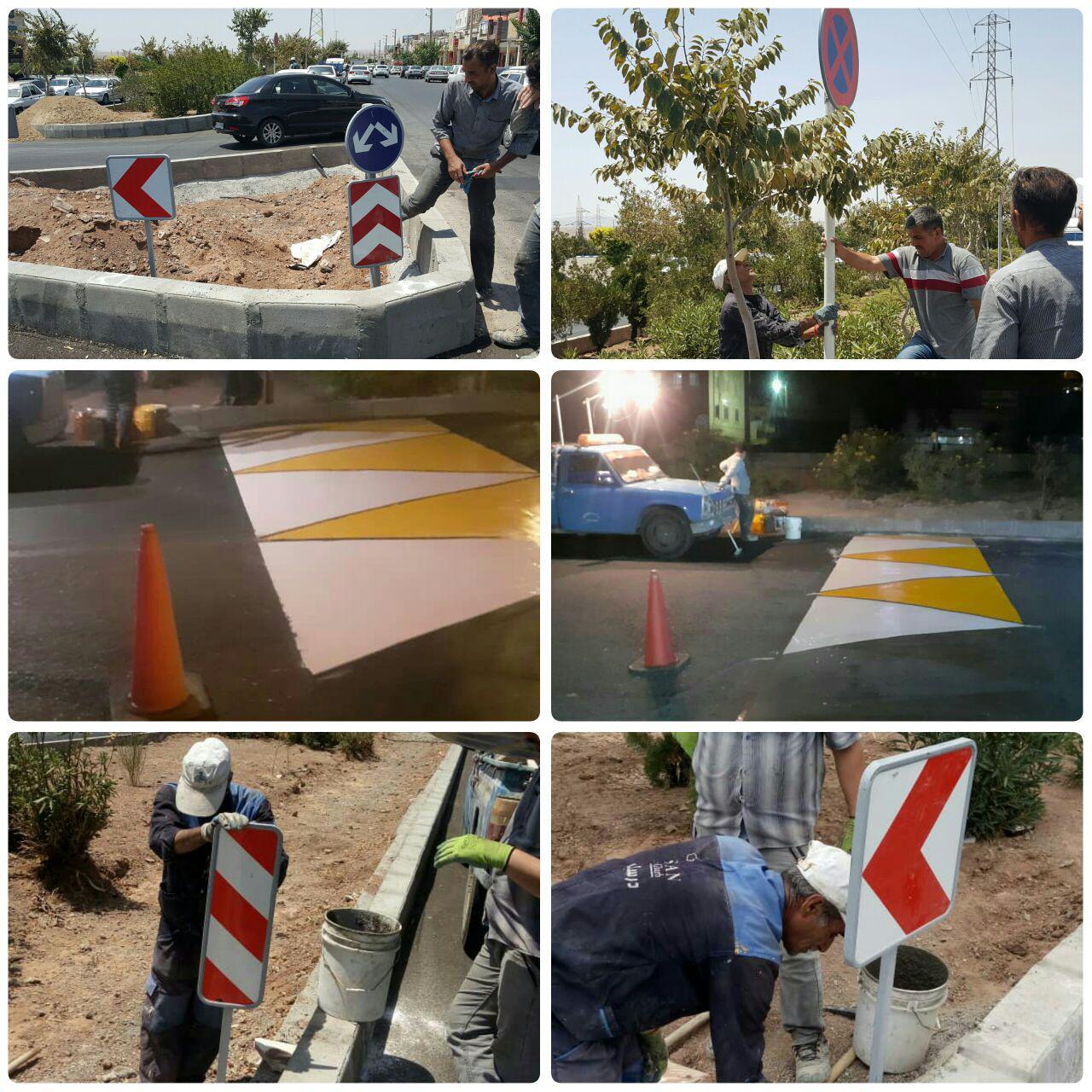 نصب علائم راهنمایی و رانندگی و رنگ آمیزی سرعت گیرها در بلوار امام خمینی (ره)
