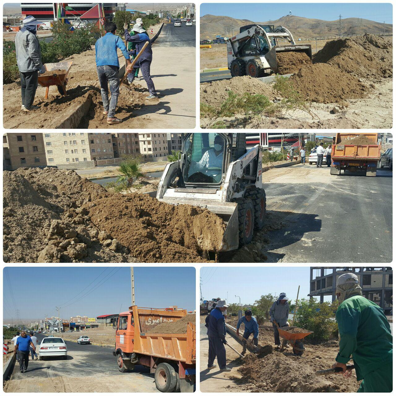 تسطیح خاک نباتی در بلوار امام خمینی (ره) شهر پرند