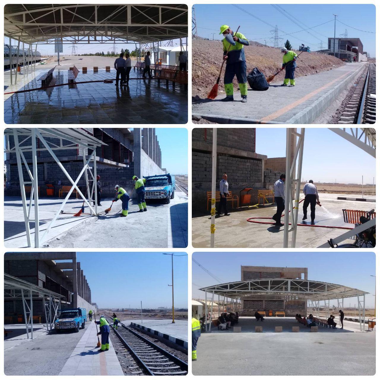 اجرای طرح جهادی پاکسازی و تنظیف در ایستگاه ریل باس پرند