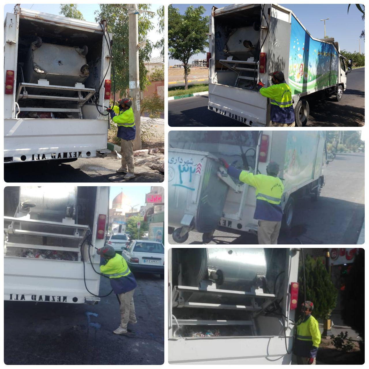 اجرای طرح پاکسازی و شستشوی مکانیزه باکس های زباله در فاز ۲ شهر پرند