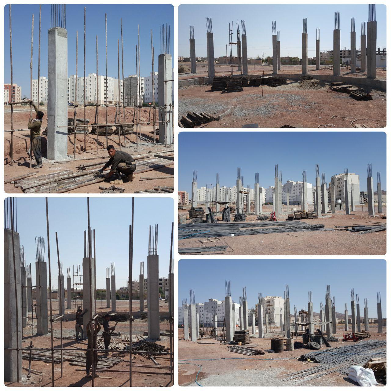 اتمام بتن ریزی ستون های پروژه زورخانه شهر پرند