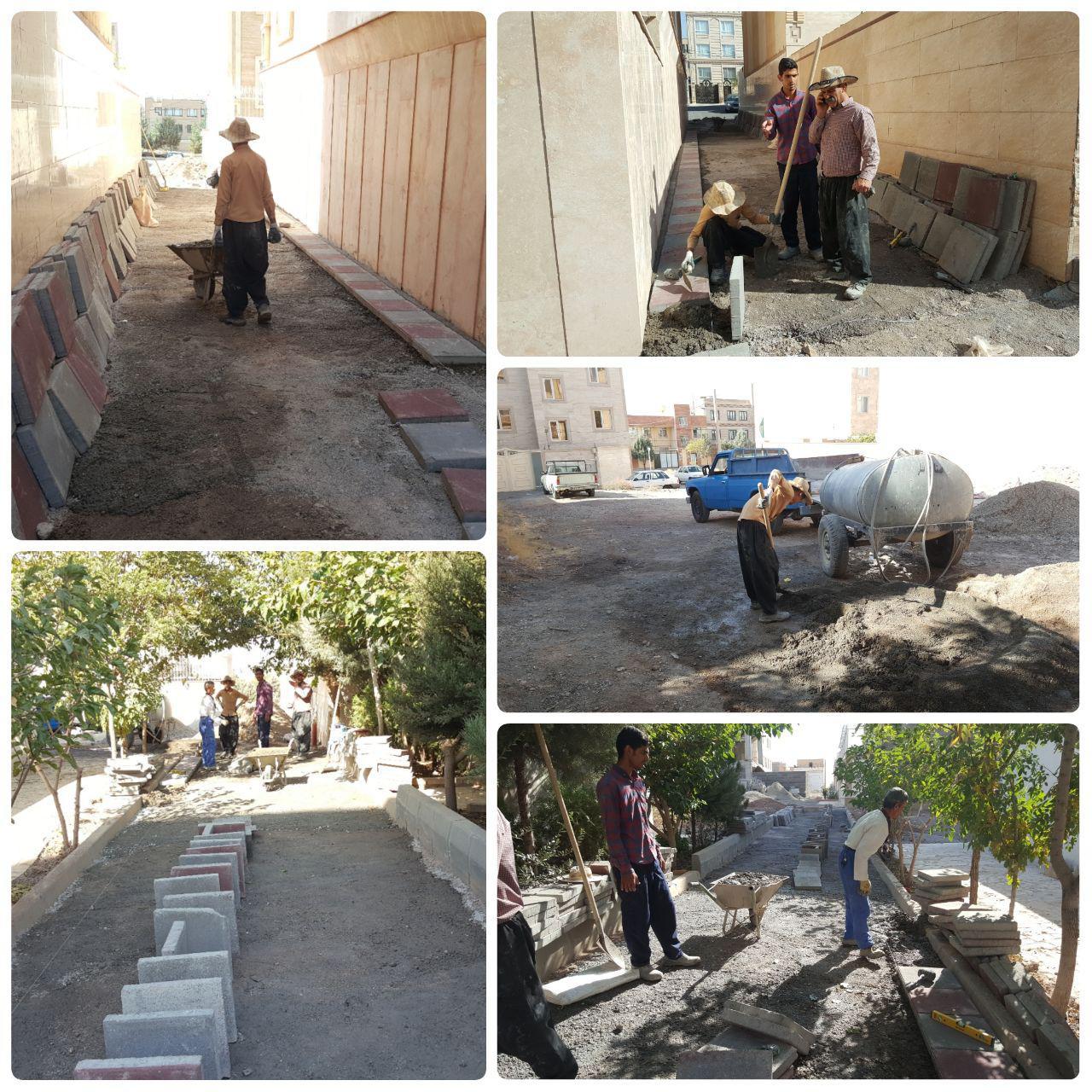 تداوم اجرای عملیات کف پوش معابر و پیاده راه های فاز یک شهر پرند