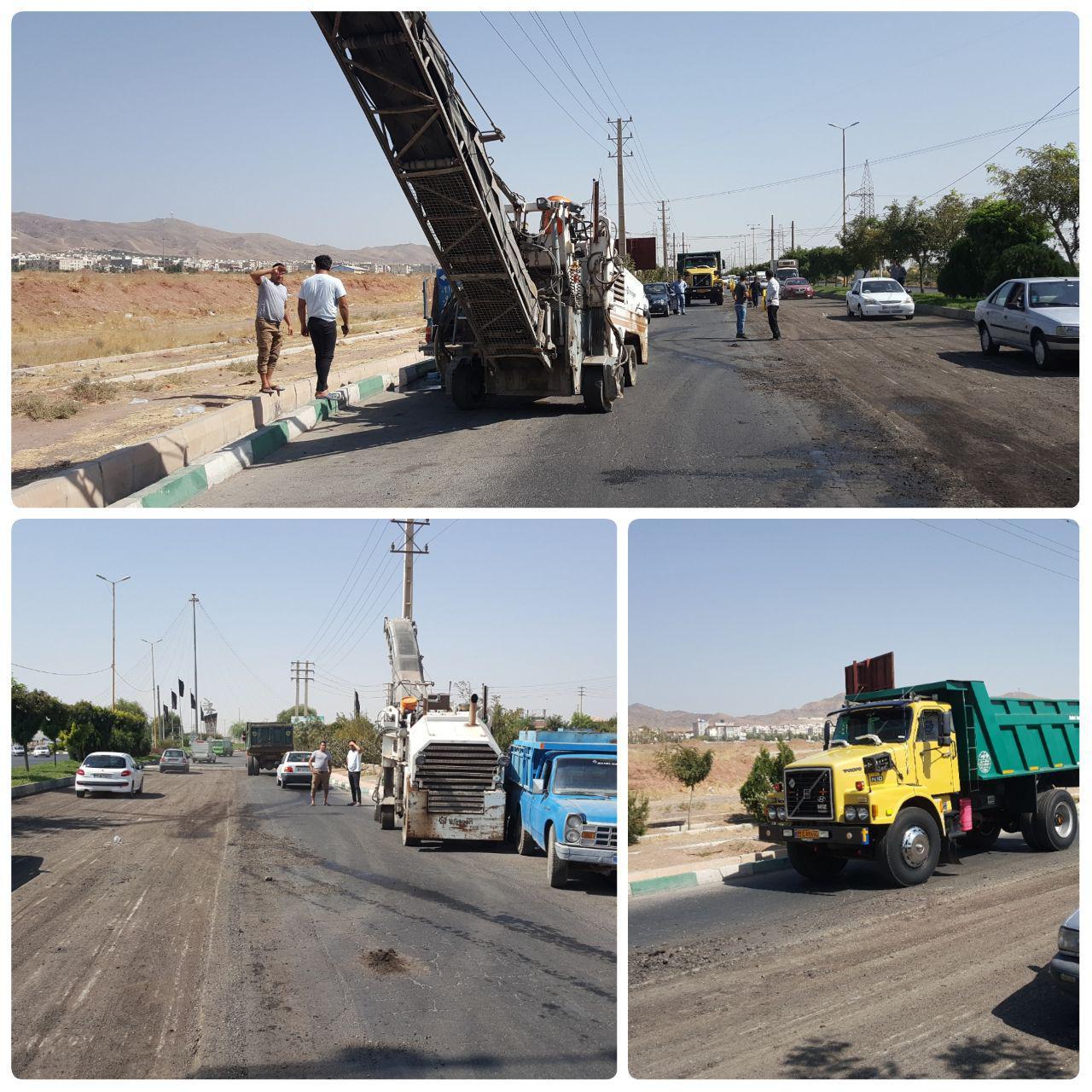 عملیات تراش و روکش آسفالت مکانیزه در بلوار شهید باهنر شهر پرند