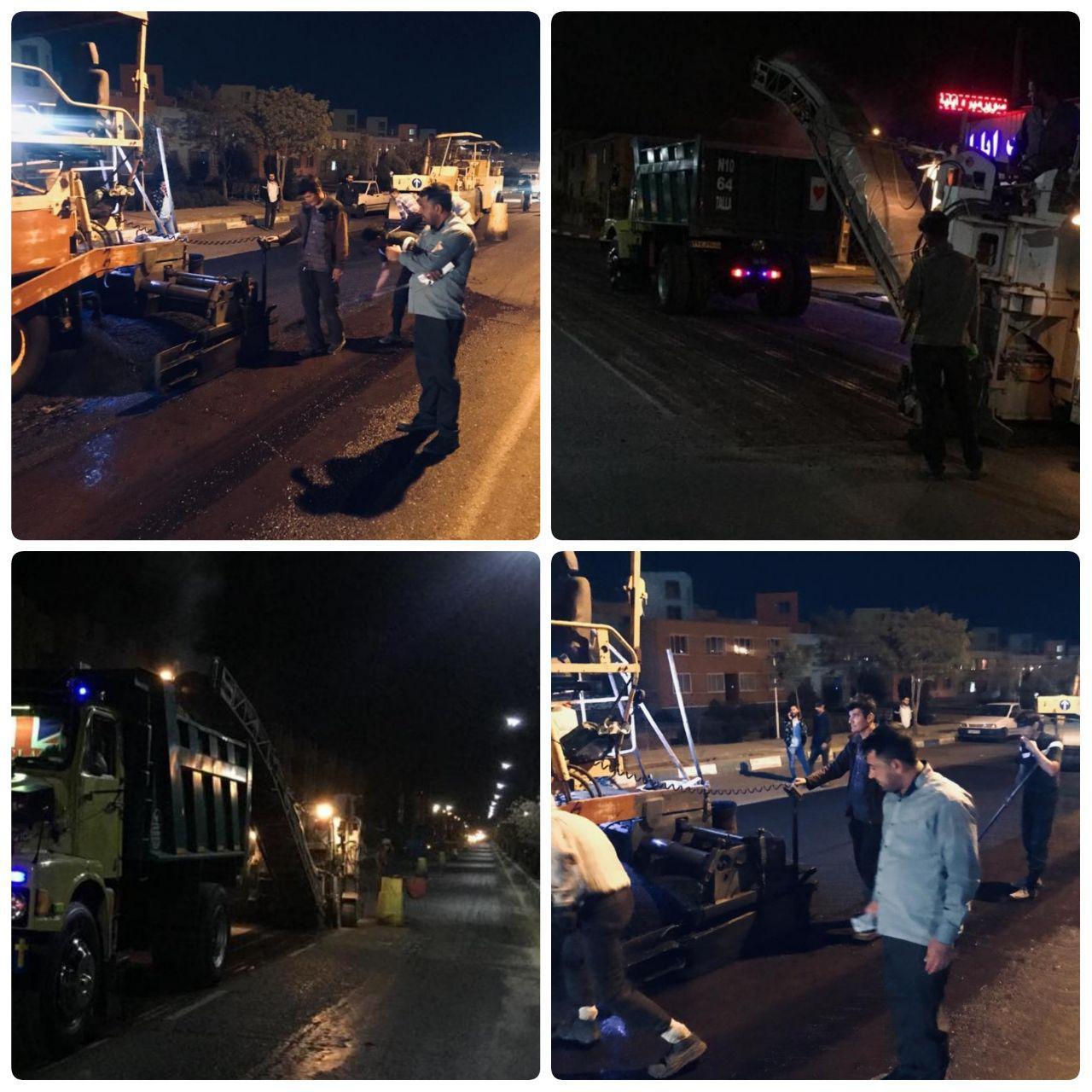 موتور عمرانی شهرداری پرند؛ شبانه روز روشن است/ آغاز عملیات آسفالت بلوار علامه مطهری