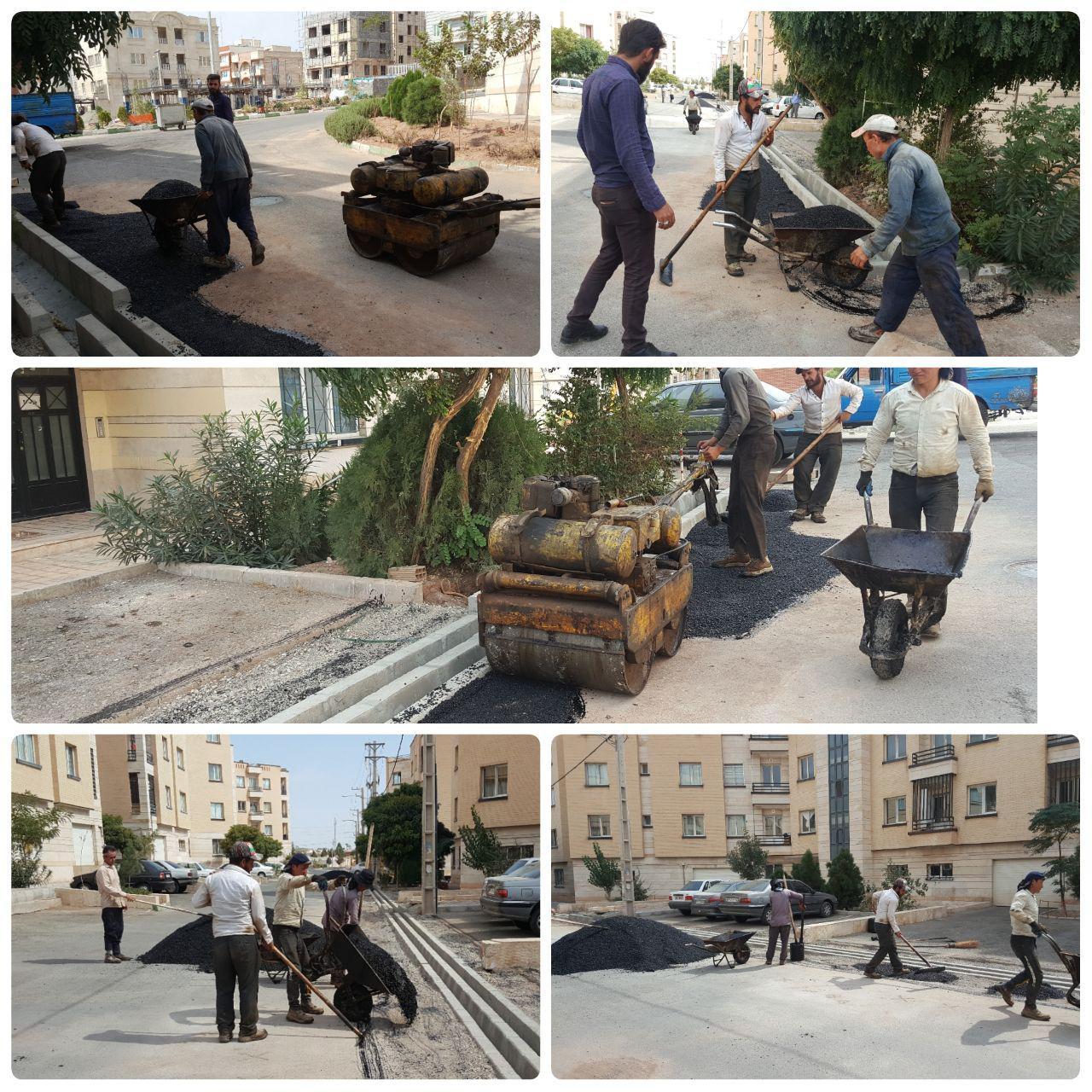 عملیات لکه گیری آسفالت در محله پرنیان و آراد