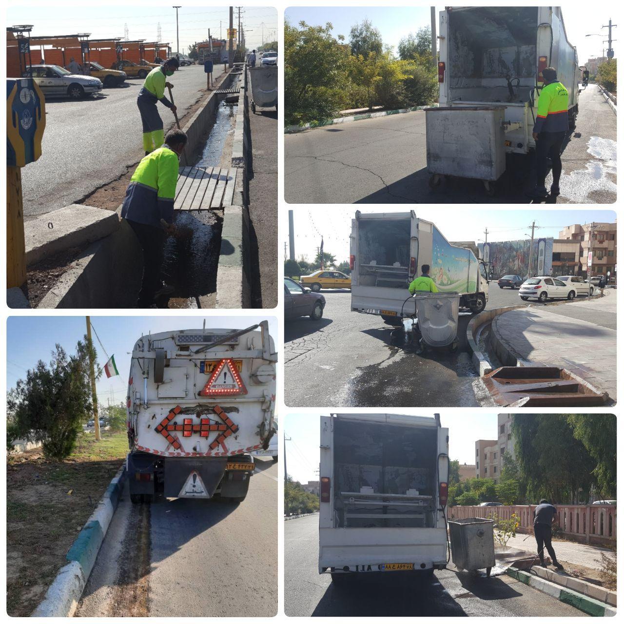 اجرای طرح پاکسازی محله ای و شستشوی مکانیزه باکس های زباله در شهر پرند
