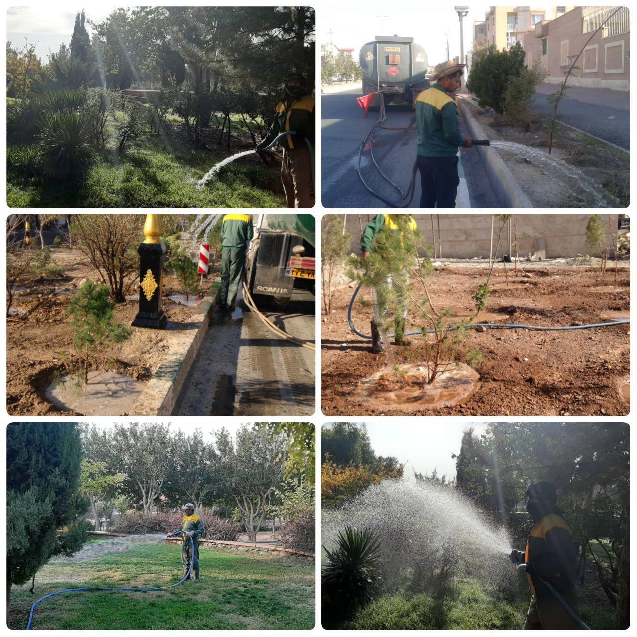 استمرار طرح جهادی آبیاری فضای سبز شهر پرند