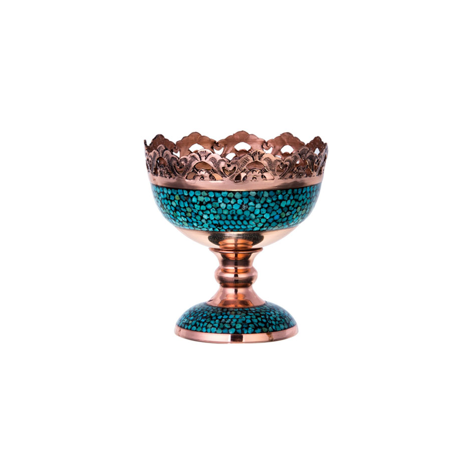 Turquoise Stone & Copper Candy/Nuts Compote Dish - 11cm