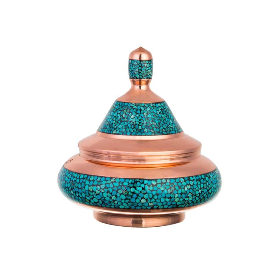 Turquoise Stone & Copper Sugar/Candy Pot - 19cm